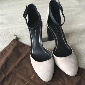 NWOB Elie tahari round toe gray suede heels